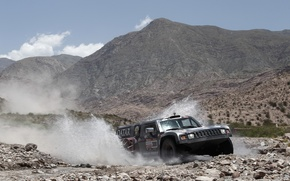 Обои Брызги, Небо, Горы, Передок, Hammer, Хаммер, Rally, Dakar, Внедорожник