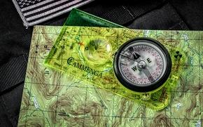 Картинка фон, карта, стрелка, цифры, компас