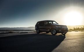 Картинка Land Rover, Range Rover, Car, Sky, Front, Sun, Matte Black