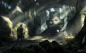 Обои скульптура, руины, temple scenery, Jakub Javora, свод, запустение, человек