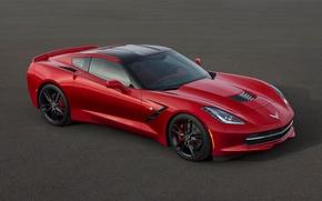 Картинка машина, авто, красная, chevrolet, corvette c7