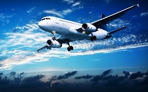 Обои пассажирский, в небе, полет, самолет, авиалайнер, облака, закат