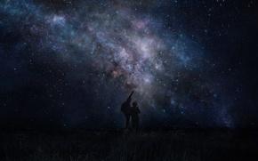Картинка небо, космос, звезды, люди, арт, iy tujiki