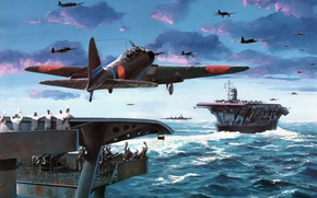 Картинка aircraft, war, art, airplane, aviation, japanese, dogfight, carrier