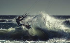 Картинка волна, спортсмен, кайтсёрфинг, kitesurfing