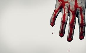 Обои кровь, рука, Ситуации, серый фон