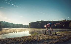 Картинка туман, озеро, утро, спортсмен