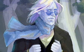 Картинка шарф, арт, очки, мужчина, борода, Adventure Time, Время Приключений, Ice King, Zapekanka, Simon Petricov