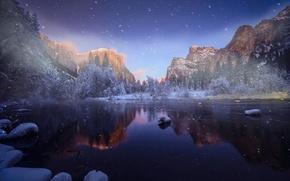 Обои зима, горы, река, снег