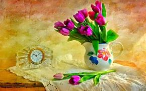 Картинка цветы, натюрморт, стол, текстура, часы, кувшин, тюльпаны