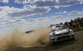 Картинка Небо, Белый, Volkswagen, Машина, Люди, Гонка, Занос, День, WRC, Rally, Ралли, Polo, S. Ogier