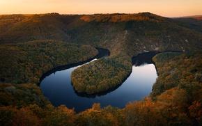 Картинка осень, река Sioule, левый приток реки Алье, Центральная Франция