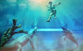 Картинка вода, пистолет, арт, крокодилы, коса, Tomb Raider, Лара Крофт, Lara Croft, лучи Солнца