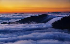 Картинка облака, пейзаж, горы, рассвет
