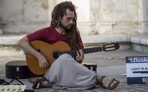 Картинка музыка, улица, гитара, музыкант