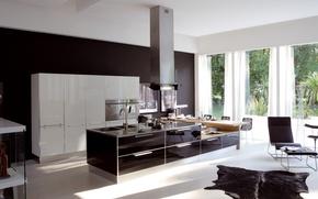 Картинка стиль, мебель, кресло, техника, шкура, кухня, картины, шторы, design, модерн, kitchen, окна., бытовая