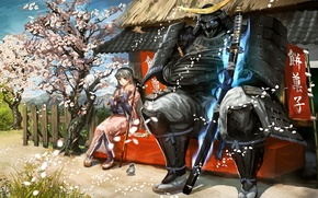 Картинка девушка, птица, меч, катана, лепестки, сакура, воин, арт, воробей, самурай, иероглифы, знамя, vanipo