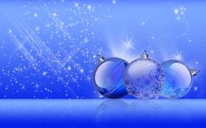 Картинка шарики, синие, Игрушки, новогодние