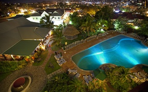 Картинка город, дома, вечер, бассейн, отель, Карибы, Caribbean, Saint Lucia, Coco Palm
