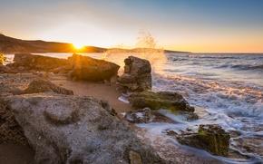 Картинка море, солнце, камни, рассвет