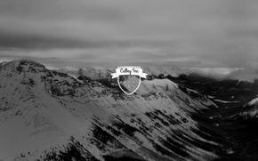 Картинка logo, mountains, blur, black and white