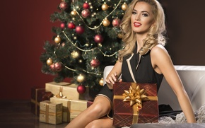 Картинка christmas, box, woman, with, Beauty, present, elegant