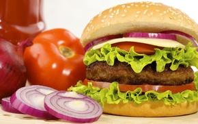 Обои помидоры, листья салата, булка, сыр, fast food, hamburger, фаст фуд, гамбургер, котлета, лук