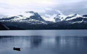 Картинка пейзаж, горы, озеро, лодка