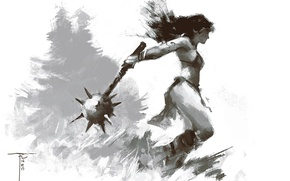 Картинка девушка, оружие, фон, воительница, булава