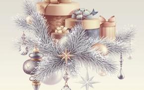 Картинка украшения, новый год, позитив, арт, подарки, 2015