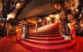 Картинка дизайн, стиль, интерьер, Чикаго, театр, Chicago, stairs, railing, red carpet, theater, stairscase