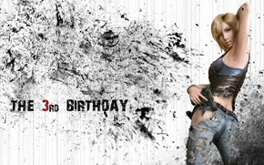 Картинка девушка, пистолет, блондинка, Parasite Eve, Aya Brea, The 3rd birthday