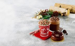Картинка зима, снег, кофе, еда, сливки, чашки, торт, cake, десерт, winter, snow, какао, coffee, cream, dessert, …