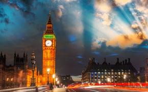 Картинка Англия, Лондон, выдержка, Великобритания, Биг-Бен, London, England, Big Ben, Great Britain