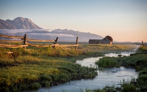 Картинка grass, Nature, river, sky, field, landscape, mountains, clouds, fence, grassland, building, barn, stream