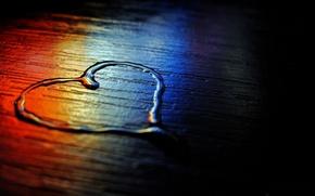 Картинка вода, синий, красный, фон, чёрный, сердце