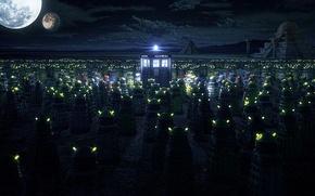 Картинка луна, будка, пирамиды, Doctor Who, Доктор Кто, ТАРДИС, TARDIS, Daleks, Далеки