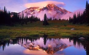 Обои Отражение, Гора, Вашингтон