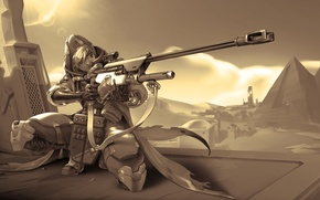Обои оружие, пирамиды, Bounty Hunter, Overwatch, Ana Amari, стрелок