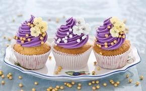 Картинка цветы, еда, сладости, крем, десерт, flowers, выпечка, блюдо, кексы, cream, sweets, dessert, muffins, dish, pastries
