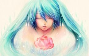 Картинка цветок, волосы, рисунок, vocaloid, hatsune miku