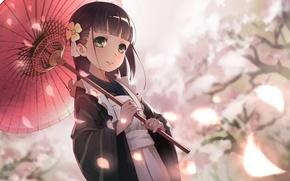 Картинка весна, зонт, лепестки, сакура, девочка, кимоно, фартук, челка, большие глаза, Chiya Ujimatsu