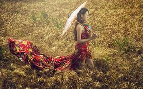 Картинка лето, девушка, зонт