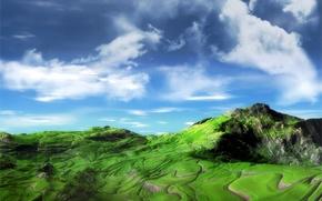 Картинка зелень, небо, горы