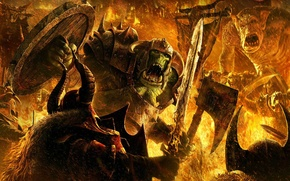 Картинка огонь, битва, гоблин