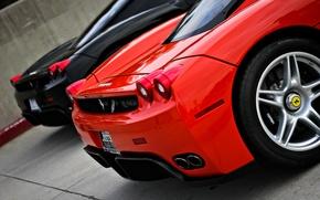 Картинка красный, черный, Ferrari, суперкар, red, supercar, феррари, black, enzo, back, энзо