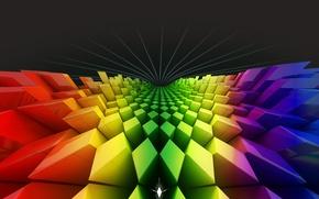 Картинка цвета, радуга, квадраты, ромбы