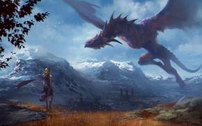 Картинка полет, горы, дракон, Девушка, Арт, game of thrones, Daenerys Targaryen, Mother of Dragons
