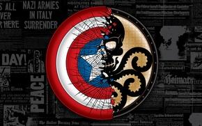 Картинка череп, щит, гидра, Капитан Америка, Captain America, The First Avenger, Marvel Comics