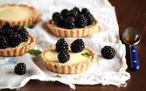 Картинка ягоды, ложка, сладости, крем, десерт, выпечка, ежевика, тарталетки